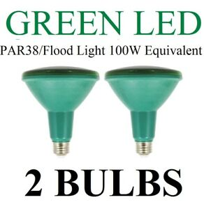 2-Pack-LED-GREEN-Par38-100W-Equivalent-using-only-13W-Flood-Light-Bulb