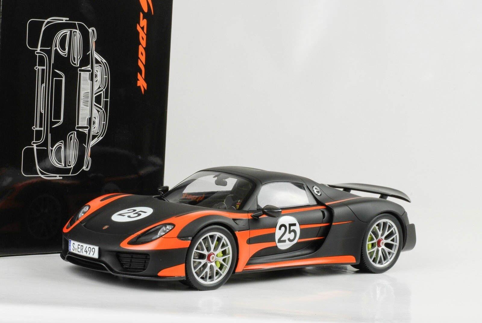 1 18 918 Porsche Paquet de Weissach orange black Mat Spyder Fermé Spark