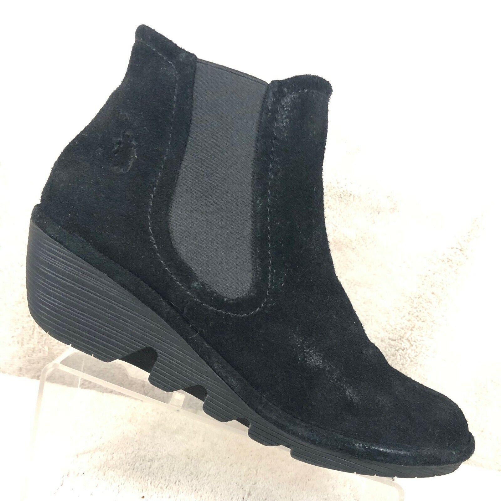 Fly London Negro Gamuza Cuña Tacón Chelsea botas al tobillo para mujer 7.5 - 8 38