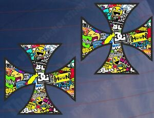 2x-Iron-Cross-pegatina-Bomba-Color-car-van-window-bumper-laptop-Impreso-pegatinas