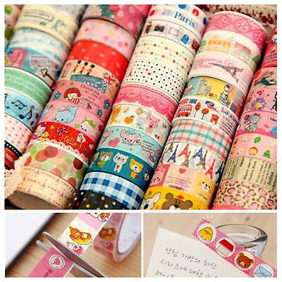 5X Colorful Cute DIY Decorative tape Sticky Paper Masking Tape Adhesive 1.5cm
