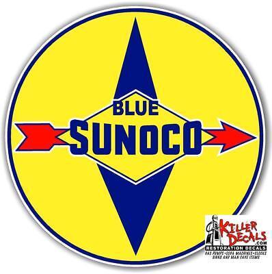 "SUNOC-4 18/"" old BLUE SUNOCO GASOLINE GAS PUMP OIL TANK DECAL DX"