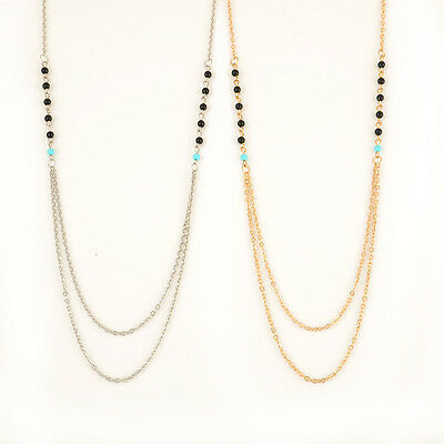 Unique Double Layer Cute Beads Chain Necklace Bohemian Lady Jewelry Accessory