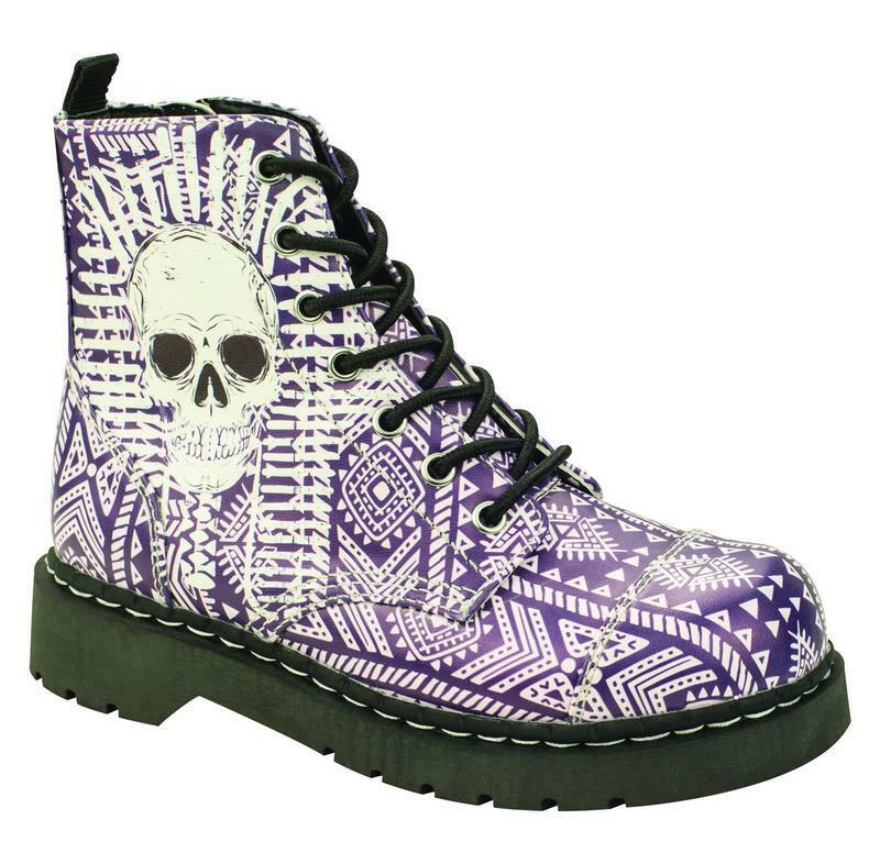 T.U.K Anarchic  T2232 7 Eye Boot in Sublimation Aztec Print with Skull Sublimation in Print 66ea0a