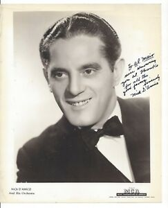 Autographed Photo Nick D'Amico Orchestra MCA 1940 Big Band