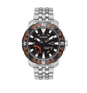 Citizen-Eco-Drive-Men-039-s-AW7048-51E-PRT-Black-Compass-Dial-Silver-Tone-44mm-Watch