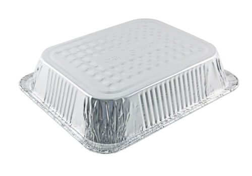 Handi-Foil 1//2 Half-Size Deep Aluminum Steam Table Pan w//Clear Low Dome Lid