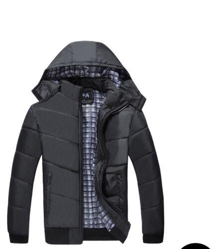 Giacca da Uomo Caldo Inverno spessa Bomber Cappotto Casual Eleganti Felpa Con Cappuccio Imbottito Nero