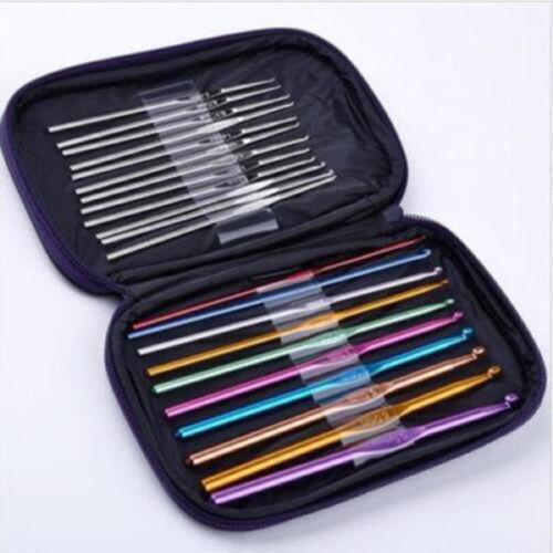 22 Pcs multicolore aluminium Crochet crochets aiguilles 0.6mm-6.5mm à tricoter Set