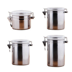 Details about Stainless Steel Sealed Pot Tea Coffee Sugar Kitchen Storage  Canister Jar Pot DMF