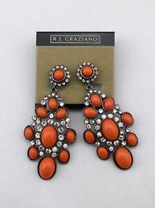 R-J-GRAZIANO-Gunmetal-Coral-Rhinestone-Crystal-Clip-On-Chandelier-Drop-Earrings