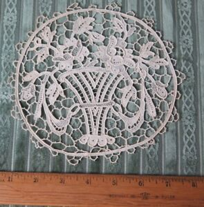 "Other Antique Lace & Crochet Enthusiastic Antique C1900 French Point De Venise Handmade Lace~6 1/2"" Round~baskets,roses Delaying Senility Antiques"