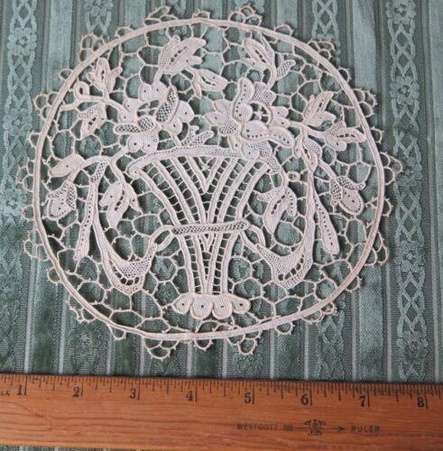 "Antique c1900 French Point de Venise Handmade Lace~6 1//2/"" Round~Baskets,Roses"