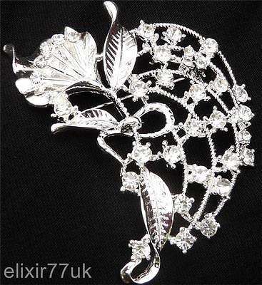 """3"""" SILVER FLOWER LEAF BROOCH RHINESTONE CRYSTAL BROACH WEDDING PARTY BRIDAL PROM"""