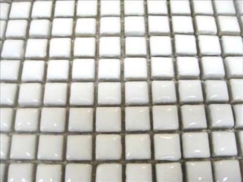 White Ceramic Glazed Tessera 81 Small Mosaic Tile Sheet