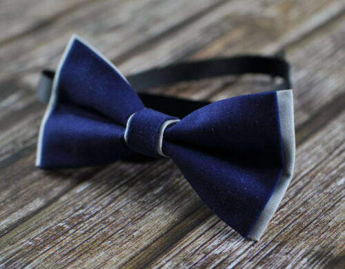 Men 100/% Cotton 2 Layers Bow Tie Bowtie Wedding Pink NAVY BLUE Yellow Grey