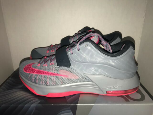 4741c266cd8 Nike KD VII 653996-060 Magnet Grey HYPER Punch Basketball Shoes ...
