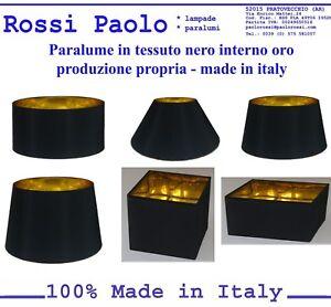 Paralume-paraluce-coprilampada-in-tessuto-nero-interno-oro-made-in-Italy