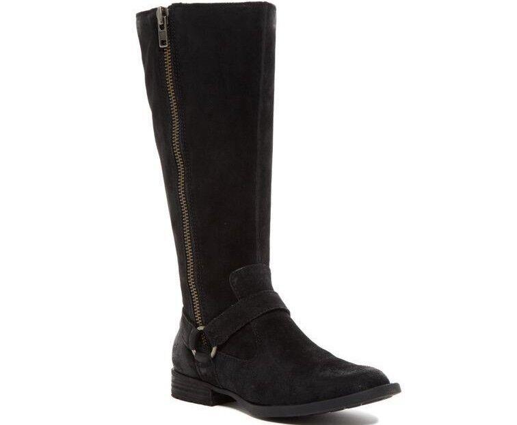 risposta prima volta Born donna Delall Tall Riding Riding Riding avvio Distressed Suede Leather nero Douple Zip 5  Felice shopping