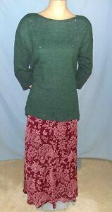 Awesome Chic Jaclyn Smith Burgundy Print A Line Midi Length Skirt Size Xlarge Ebay