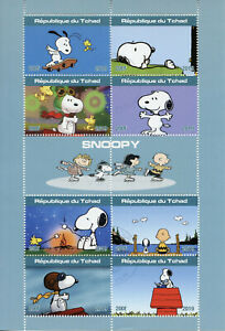 Chad-2019-CTO-Snoopy-Peanuts-Charlie-Brown-8v-M-S-Cartoons-Comics-Stamps