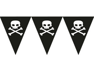 Skull & Crossbones Pirate Party Paper Flag Bunting for Kids - 3.7m