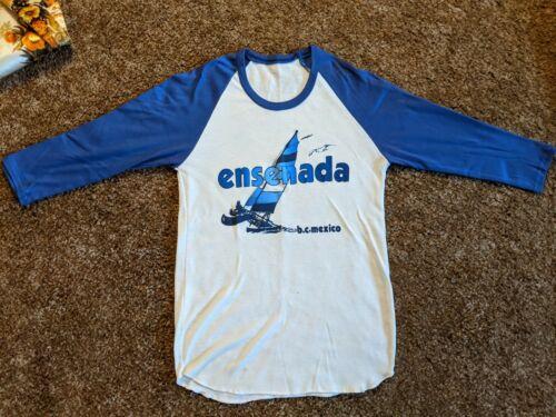 Vintage Ringer T Shirt Raglan M Ensenada Vtg Saili