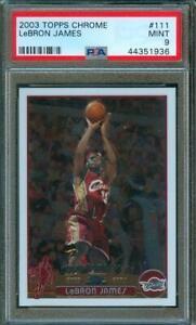 2003-04-Topps-Chrome-Basketball-LEBRON-JAMES-Rookie-Card-111-PSA-9-Centered
