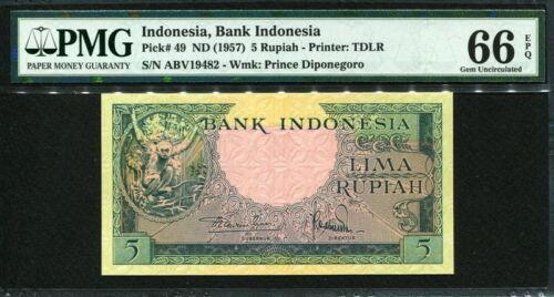 PMG 66 EPQ GEM UNC P49 Indonesia 1957 5 Rupiah
