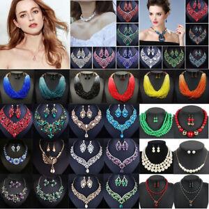 Fashion-Boho-Crystal-Pendant-Choker-Chain-Statement-Necklace-Earrings-Jewelry