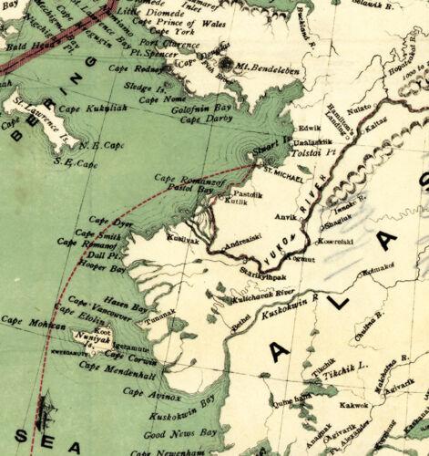 1897 Alaska Klondyke Map Rush Gold Mining Fields Mines Yukon Klondike Art Poster
