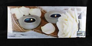 Leinwand-Bild-Wandbild-Leuchtbild-weiss-Rose-2-Kerzen-LED-beleuchtet-NEU