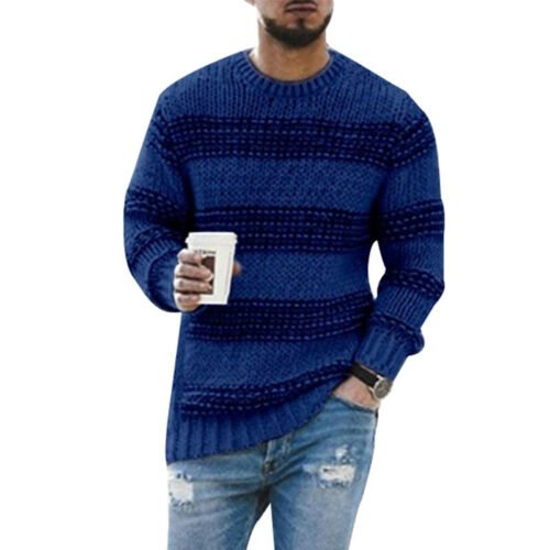 Mens Winter Crew Neck Long Sleeve Striped  Knitted Jumper Pullover Sweater Tops