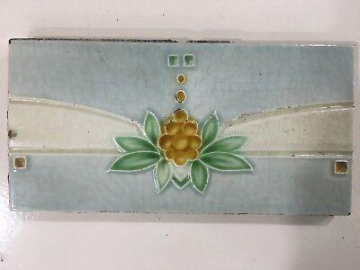 Rare england border tile vintage art antique nouveau majolica collectible c1900