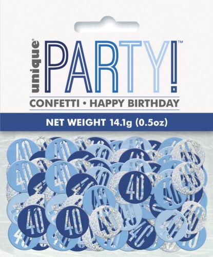 Blue Age 40 Confetti Glitz 40th Birthday Confetti Table Decoration
