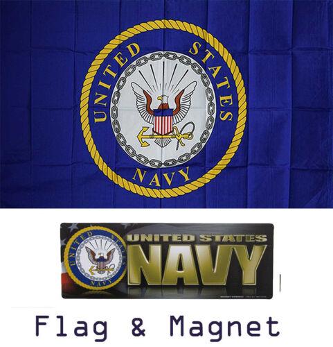 "Navy Emblem 3x5 3'x5' Flag and 5/"" Magnet #4 Wholesale Combo Set U.S"