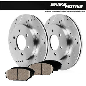 Front-Drill-And-Slot-Brake-Rotors-amp-Ceramic-Pads-For-2WD-4WD-4X4-Chevy-GMC
