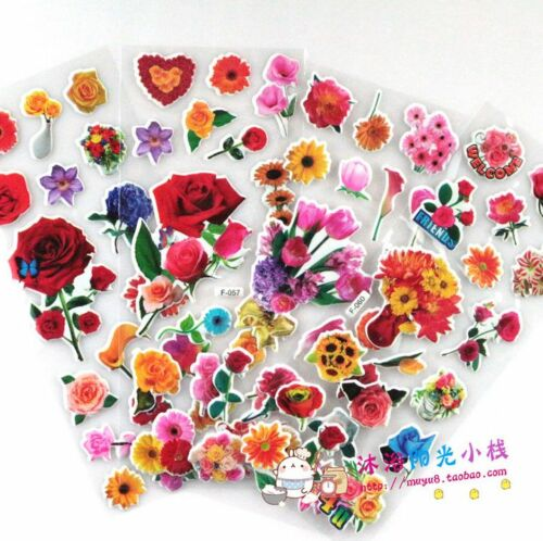 3D Flower+Butterfly World Puffy Stickers Lot For Bed Room-Kids Reward Stickers @