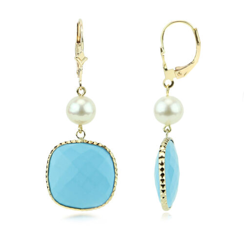 14K Yellow Gold Gemstone Earrings With Pearls And Turquoise Dangle