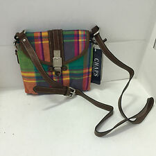 NEW! CHAPS RALPH LAUREN TRAVELER TROPICAL MADRAS PRINT CROSSBODY SLING BAG PURSE