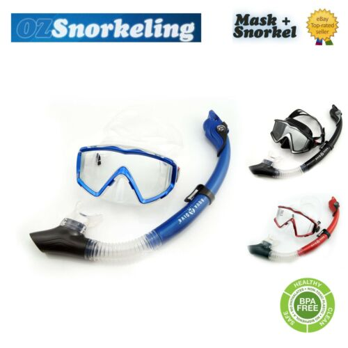 Aqua Dive Snorkeling Mask Set Dry Snorkel Tempered Glass Liquid Silicone Gift