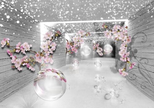 Fototapete Tapete Wandbild Vlies F02162 3D Magischer Tunnel mit Blumen #GESCHENK