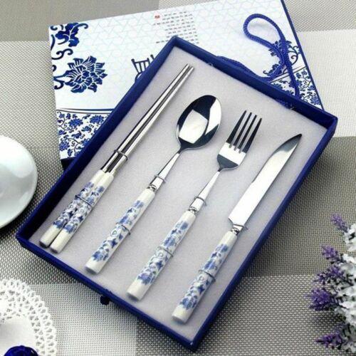 Blue And White Stainless Still Porcelain Tableware Set Chopsticks Fork Spoon