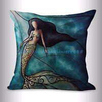 Us Seller- Cheap Throw Pillows For Couch Mermaid Cushion Cover