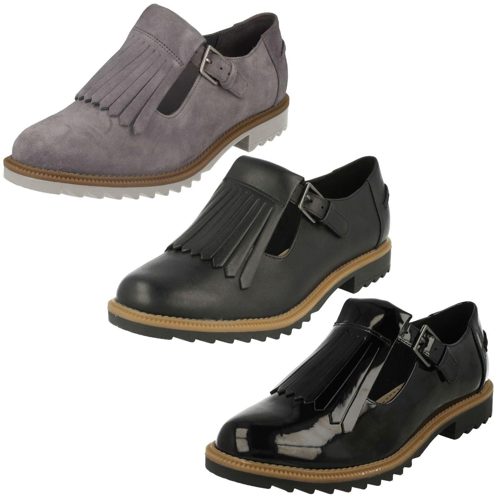 donna CLARKS scarpe in pelle nera Griffin MIA (larghezza D)