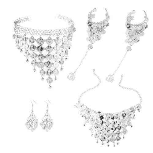 Womens Belly Dance Jewelry Set Allergy Free with Coin Tassel Crystal Chain