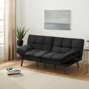 Foam Futon, Sofa Cama Futon Convertible De Espuma Viscoelastica Ajustable, Negro