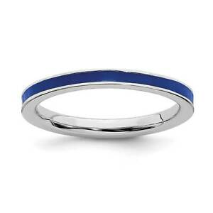 925-Sterling-Silver-Rhodium-Plated-Blue-Enameled-2-25mm-Stackable-Ring-Sz-5-10