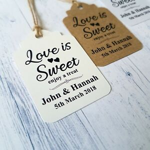 Image Is Loading 10 Personalised Wedding Favour Gift Tags Love