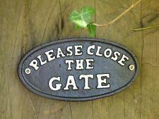 Si prega di chiudere il portone GIARDINO VINTAGE CAST IRON SIGN in metallo verniciato di nero regalo NUOVO